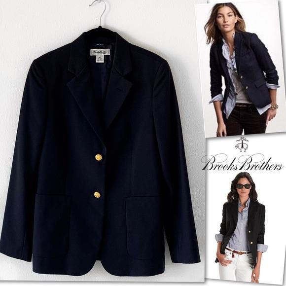 Brooks Brothers Jackets & Blazers - Brooks Brothers Two Button Navy Wool Blazer SZ 8